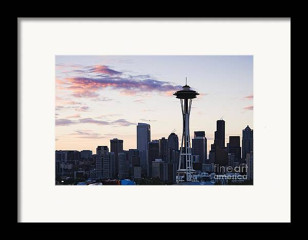 Apartment Framed Print featuring the photograph Seattle Skyline At Dusk by Jeremy Woodhouse
