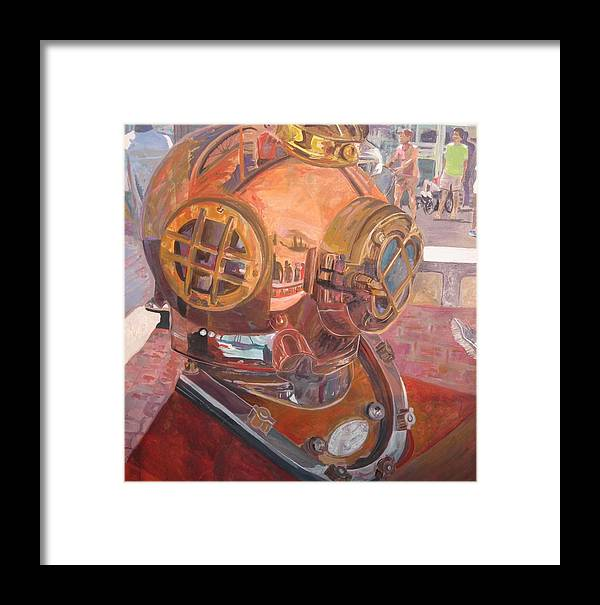 Seaworld Art Framed Print featuring the painting Seaworld Copper Diving Helmet by Susan McNeil