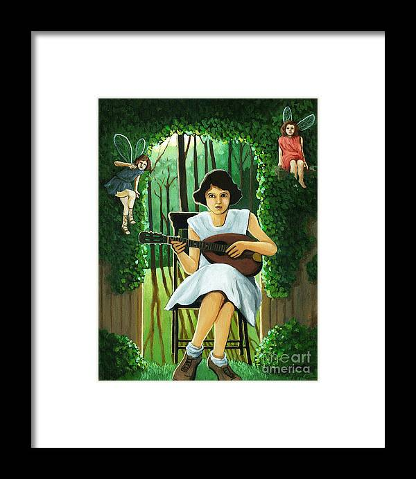Fantasy Framed Print featuring the painting Secret Garden Fantasy Fairy by Linda Apple