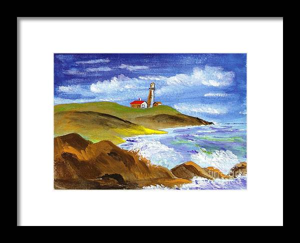 Lighthouse Framed Print featuring the painting Secure Horizon by Jessi and James Gault