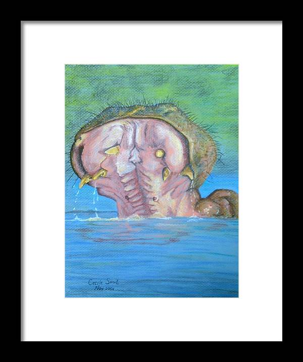 Hippopottamus Framed Print featuring the pastel Seekoei by Cecile Smit