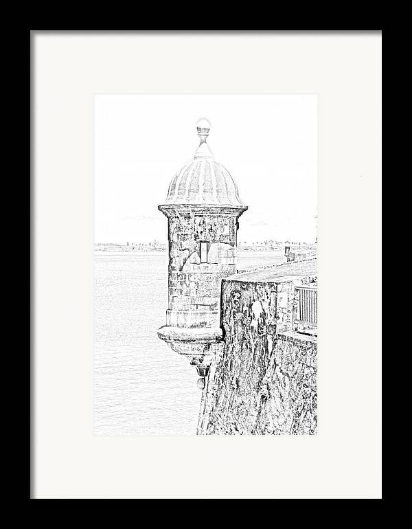 Travelpixpro Puerto Rico Framed Print featuring the digital art Sentry Tower Castillo San Felipe Del Morro Fortress San Juan Puerto Rico Line Art Black And White by Shawn O'Brien