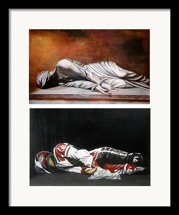 Self Portrait Motorcycle Arai Helmet Leather Suit Figurative Realism Diptych Sculpture Statue Renaissance Dark Emotive Expressive Saint St. Cecilia Framed Print featuring the painting September Sixth Diptych by Ian Hemingway