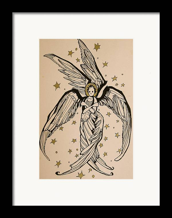 Seraphim Angel Framed Print featuring the drawing Seraphim by Jackie Rock
