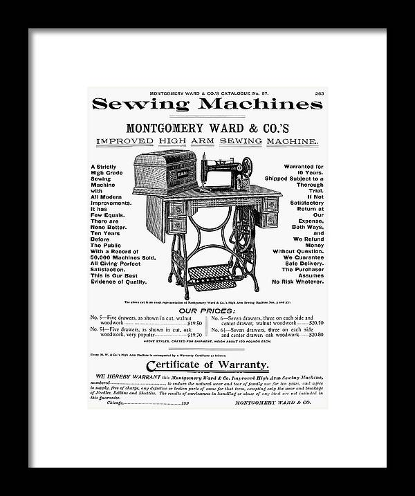 1895 Framed Print featuring the photograph Sewing Machine Ad, 1895 by Granger