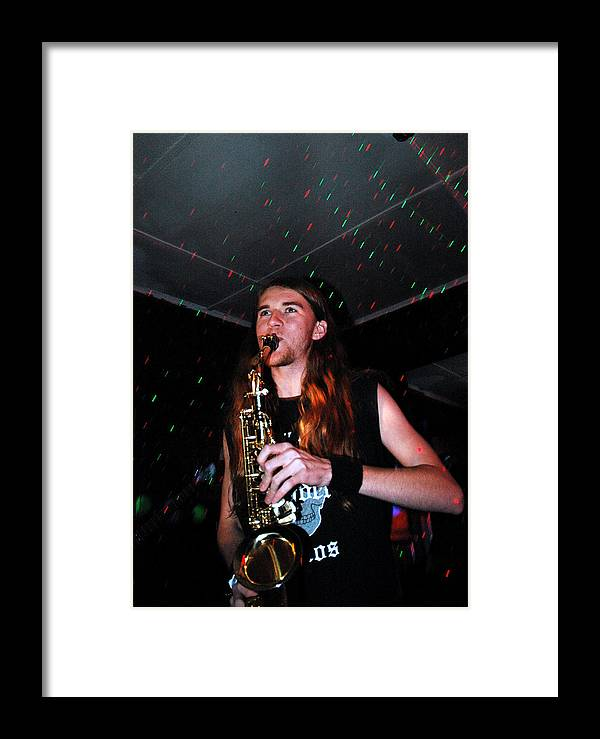 Framed Print featuring the photograph Sexy Sax Man by Valerie McDougal