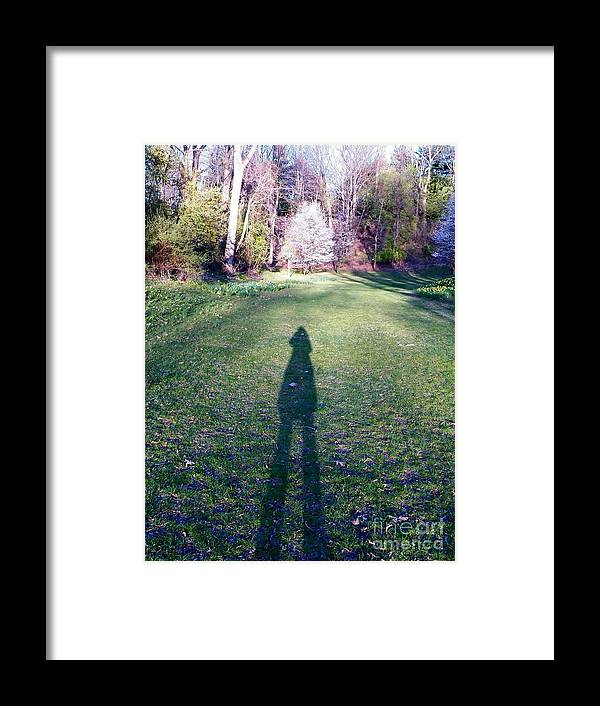 Human Shadow In Landscape Framed Print featuring the photograph Shadows Long by Judy Via-Wolff