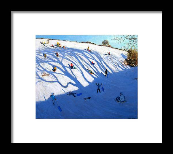 Sledge Framed Print featuring the painting Shandows On A Hill Monyash by Andrew Macara