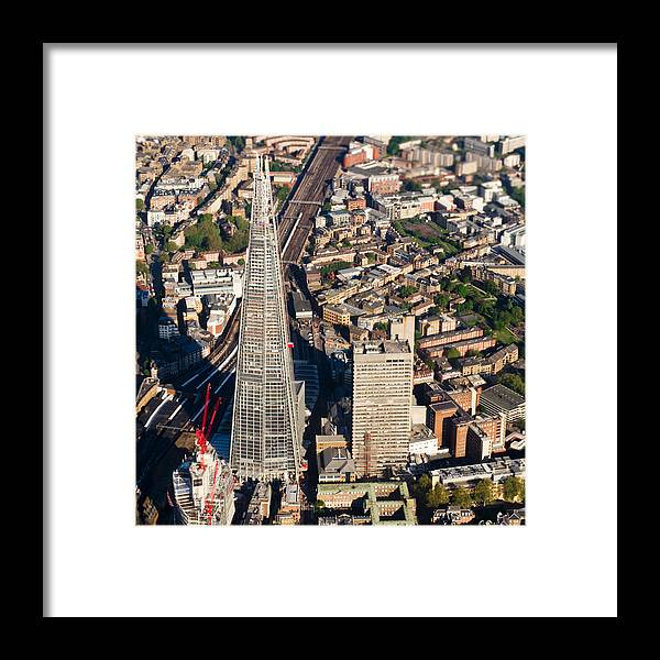 The Shard Framed Print featuring the photograph Shard London Aerial View by Gary Eason