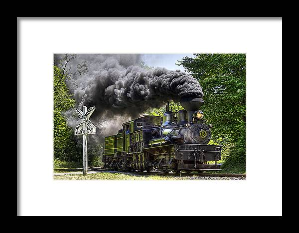 Locomotive cass Scenic Railroad west Virginia Scenic Rural Lumber Timber Cass steam Engines steam Locomotive Railroad Railway Shay Framed Print featuring the photograph Shay Number Five by Tom Steele
