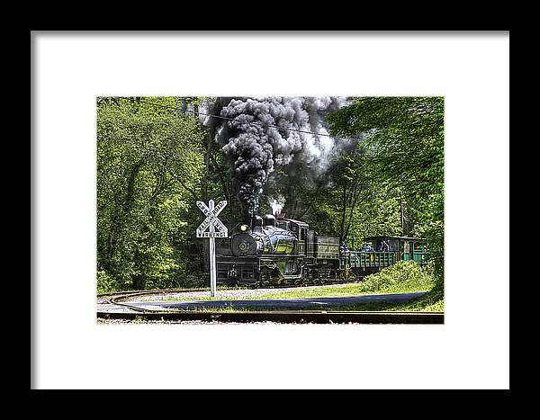 Cass Trains Railroad cass Scenic Railroad west Virginia Steam Locomotive steam Locomotive Railway Rural Scenic Shay Rails Trails Old Framed Print featuring the photograph Shay Six At Back Mountain Road by Tom Steele