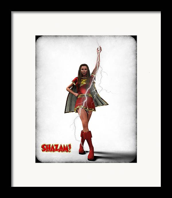 Super Heroe Framed Print featuring the digital art Shazam - Mary Marvel by Frederico Borges