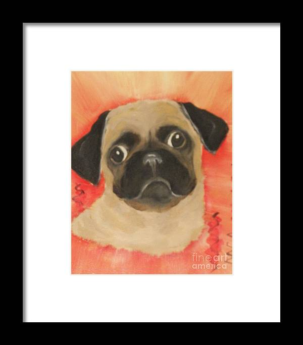 Dogs Framed Print featuring the painting She Has Her Eye On You by Rachel Carmichael