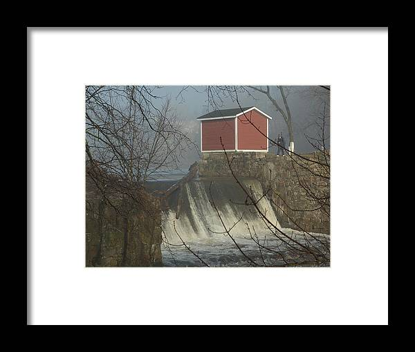 Dam Framed Print featuring the photograph Shed By The Dam In Fog by Barry Doherty