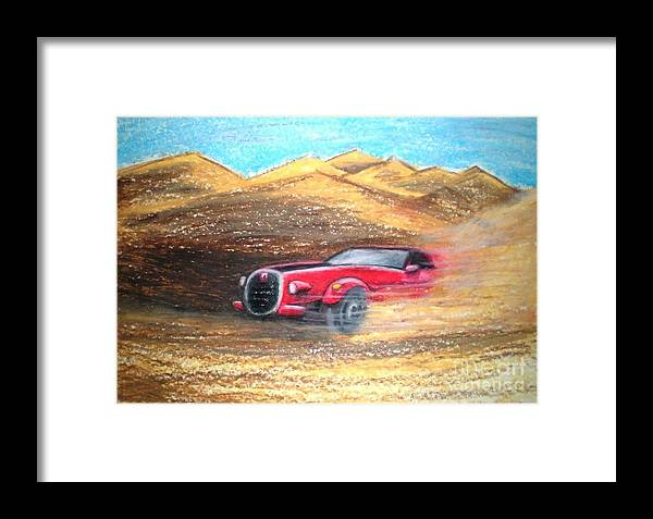 Car Framed Print featuring the pastel Sheikhs Dirt Racer by C Ballal