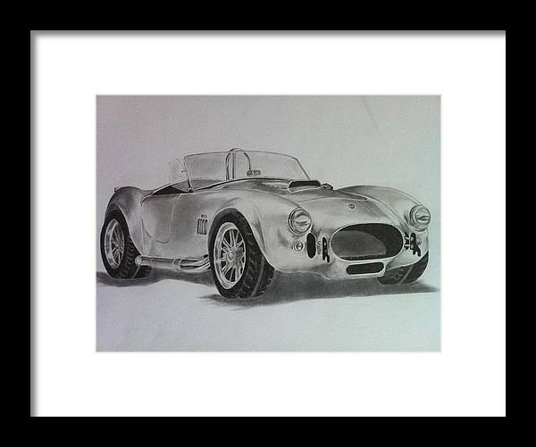 Cars Framed Print featuring the drawing Shelby Cobra by Aaron Mayfield