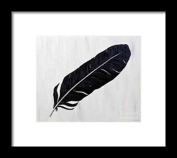 Feather Framed Print featuring the painting Shiny Feather by Nikki Rondeau