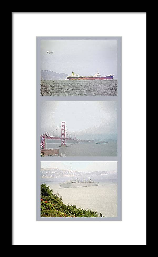 Ocean Framed Print featuring the photograph Shipping Triptych - San Francisco Bay by Steve Ohlsen