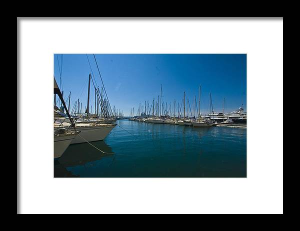 Ships Framed Print featuring the photograph Ships in Their Slips in Toulon by Richard Henne