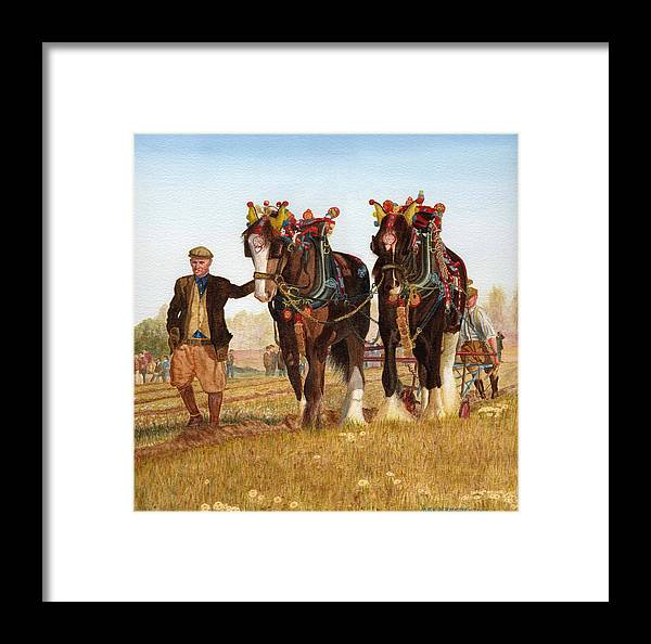 Shire Horses Framed Print featuring the painting Shire Horses by Michael Dermody