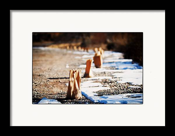 Taos Framed Print featuring the photograph Side Road Luminaries by Lisa Spencer