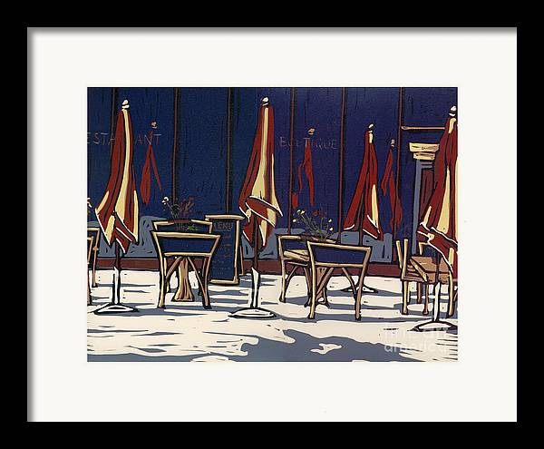 Limited Edition Framed Print featuring the painting Sidewalk Cafe - Linocut Print by Annie Laurie