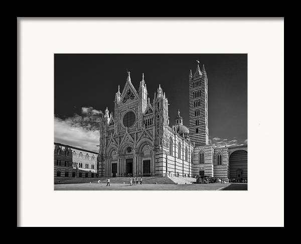 B & W Framed Print featuring the photograph Siena Duomo by Michael Avory