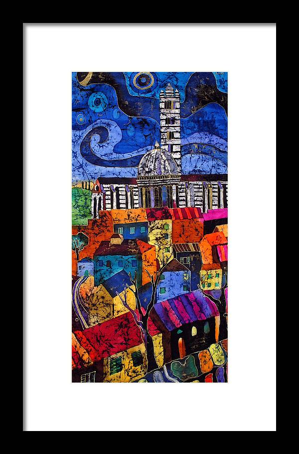 Silk Framed Print featuring the tapestry - textile Siena by Sandra Kern