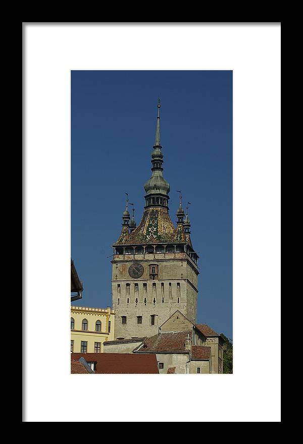 Old Town Framed Print featuring the photograph Sighisoara clock tower 1 by Amalia Suruceanu