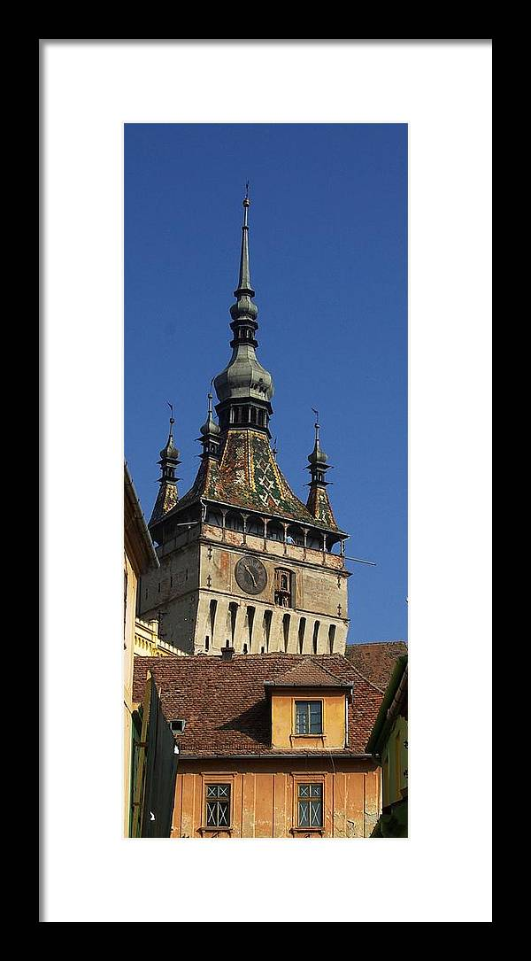 Old Town Framed Print featuring the photograph Sighisoara clock tower 2 by Amalia Suruceanu