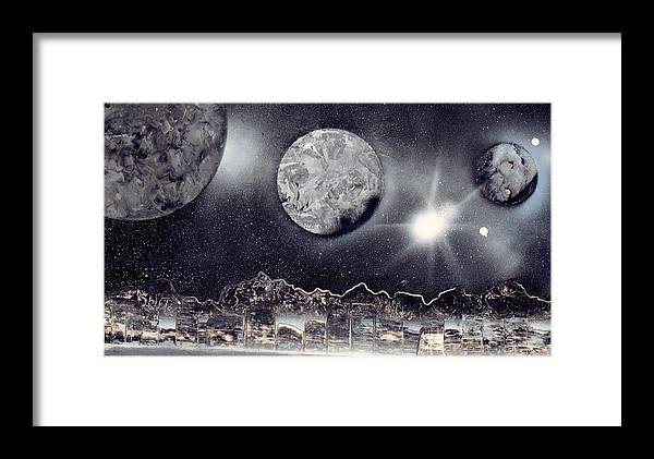 Landscapr Framed Print featuring the painting Silver And Black Space City by Marc Chambers
