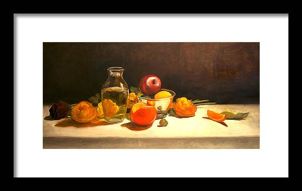 Orange Framed Print featuring the painting Silver and Glass by Jayne Howard