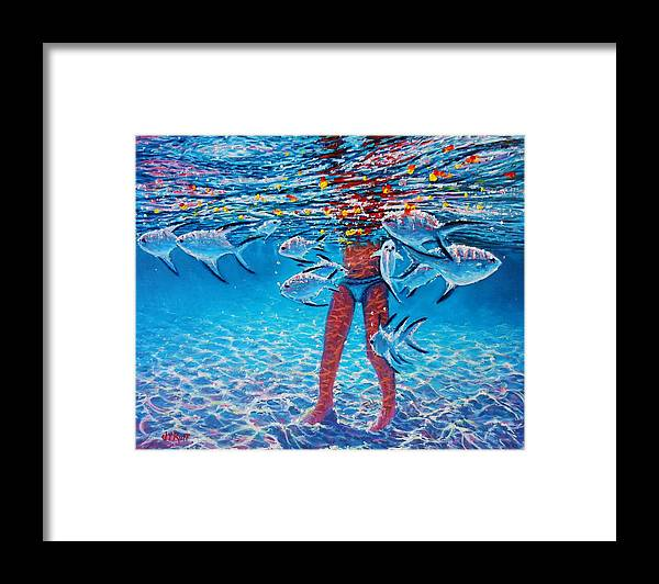 Seascape Framed Print featuring the painting Silver Barb Reflections by Joseph  Ruff