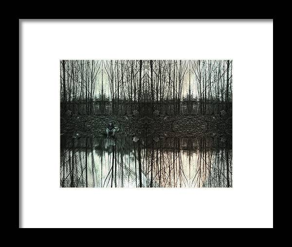 Trees Framed Print featuring the digital art Silver Lake by Janet Kearns