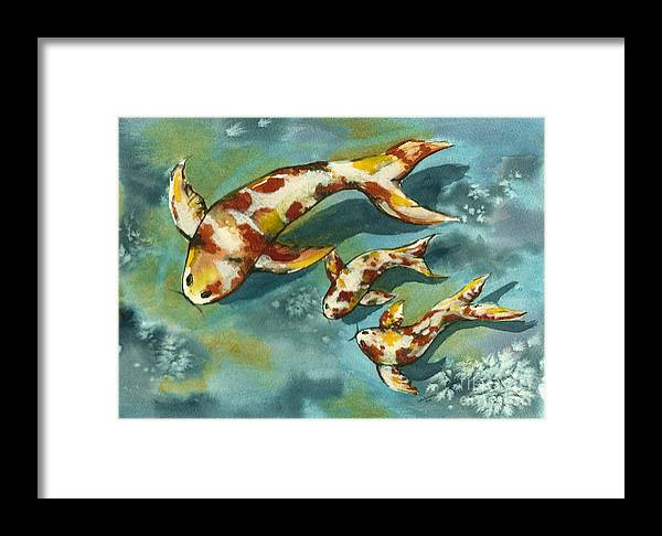 Koi Fish Framed Print featuring the painting Single Parenting by Lynn Babineau