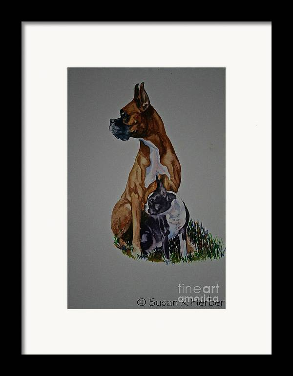 Boxer Framed Print featuring the pastel Sister Story by Susan Herber
