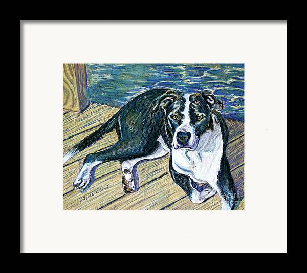 Dog Framed Print featuring the painting Sittin' On The Dock by D Renee Wilson