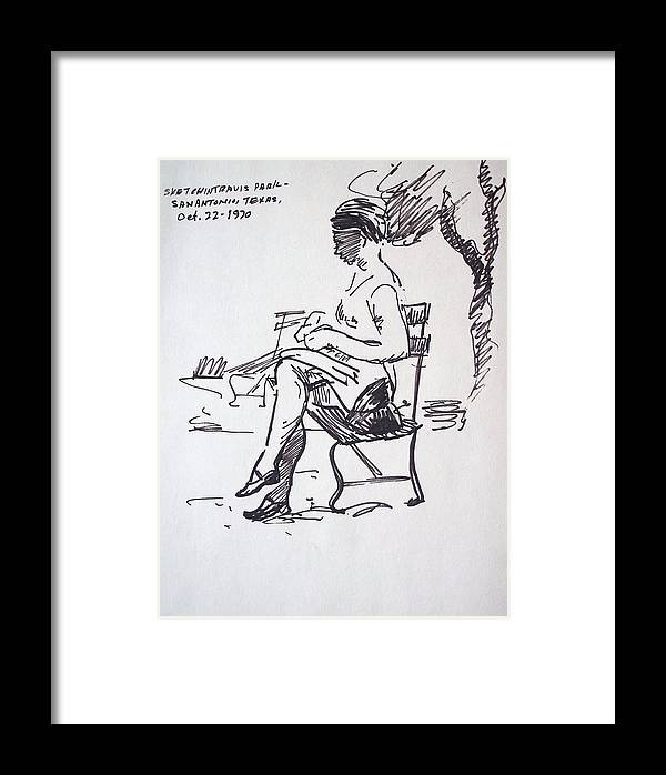 Woman Framed Print featuring the drawing Sitting Pretty by Aileen Markowski