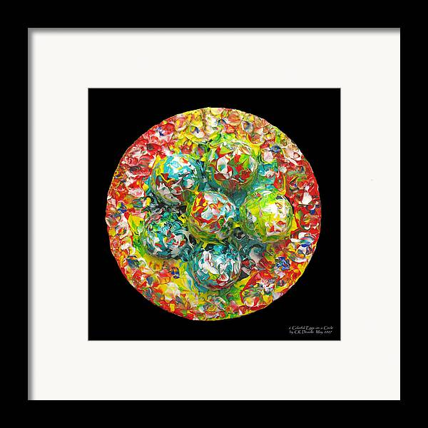 Original Framed Print featuring the painting Six Colorful Eggs On A Circle by Carl Deaville