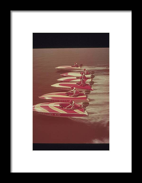 Adult Framed Print featuring the photograph Six Red And Yellow Speed Boats, 1950s by Archive Holdings Inc.