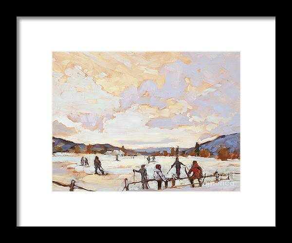 Kids Framed Print featuring the painting Ski Day by Chula Beauregard