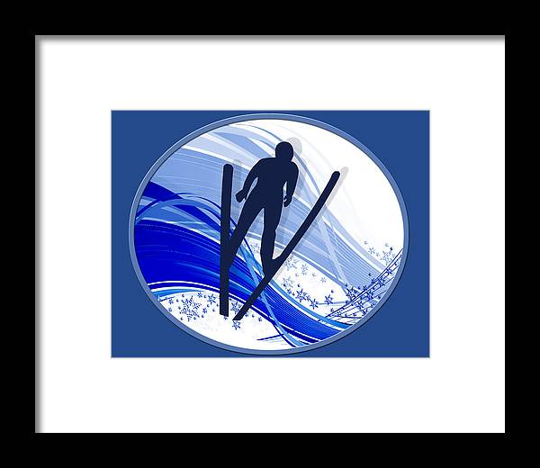 Ski Framed Print featuring the painting Skiing And Snowflakes by Elaine Plesser