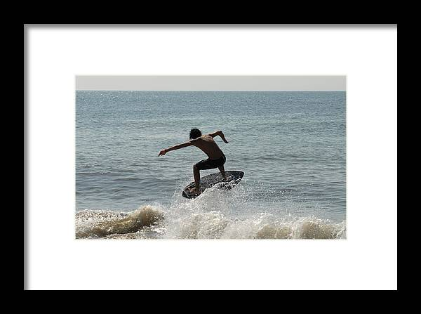 Kite Surfing Framed Print featuring the photograph Skimboarding 56 by Joyce StJames