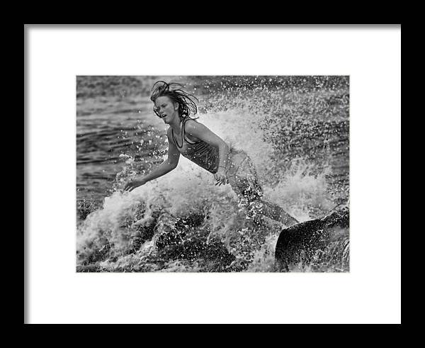 Skimboarding Framed Print featuring the photograph Skimmer Girl 1 Black And White by Wade Aiken