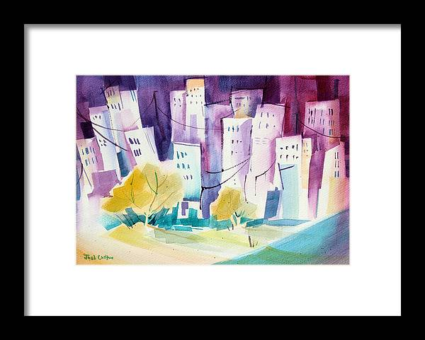 Cityscape Framed Print featuring the painting Skip To The City. by Josh Chilton