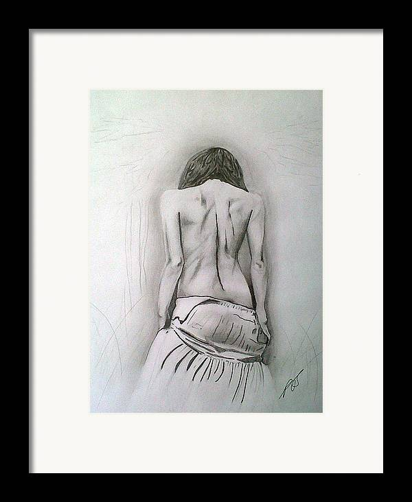 Nude Framed Print featuring the drawing Skirt II by Paula Steffensen