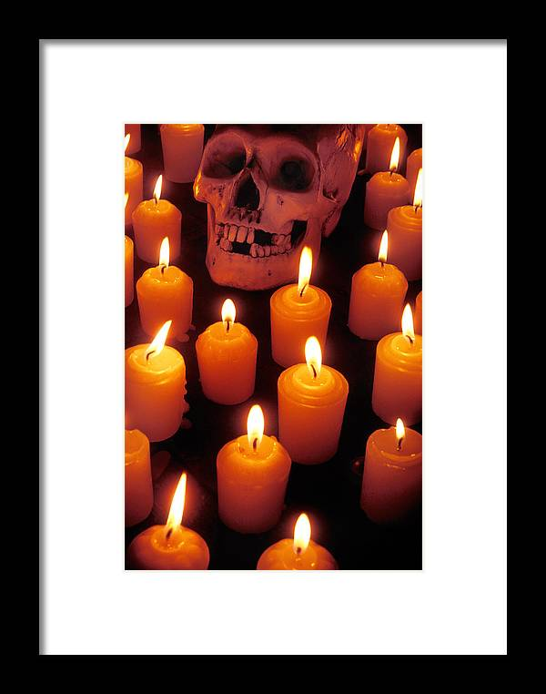 Skull Framed Print featuring the photograph Skull And Candles by Garry Gay