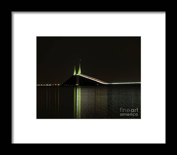 Night Framed Print featuring the photograph Skyway St Pete Fl by Dusty Cox