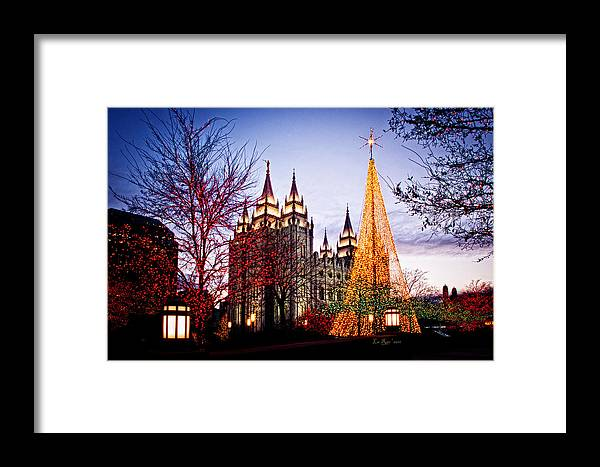 Templephotographs Framed Print featuring the photograph Slc Temple Tree Light by La Rae Roberts