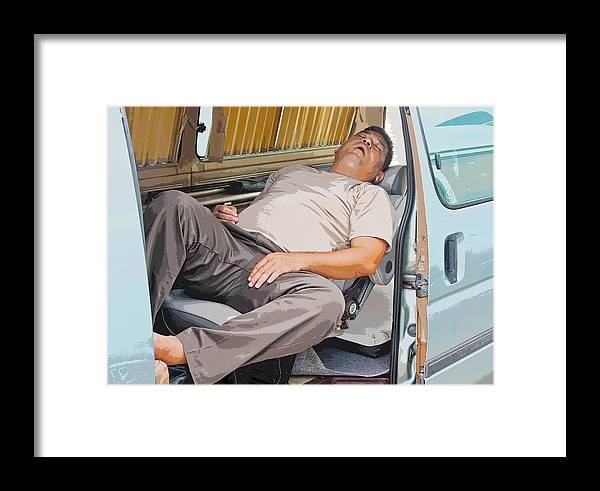 Interesting Framed Print featuring the photograph Sleeping On The Job by Kantilal Patel